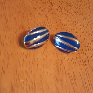 Gold tone & blue enamel oval pierced earrings EUC